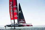 Image licensed to Lloyd Images <br /> Pictures of Emirates Team New Zealand Americas Cup team shown here training in the UK onboard their new AC45 foiling cup boat, prior to the start of the World series next month.<br /> Credit: Lloyd Images