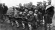 Bulgarian Army:  Infantry practising gun drill, c1914.