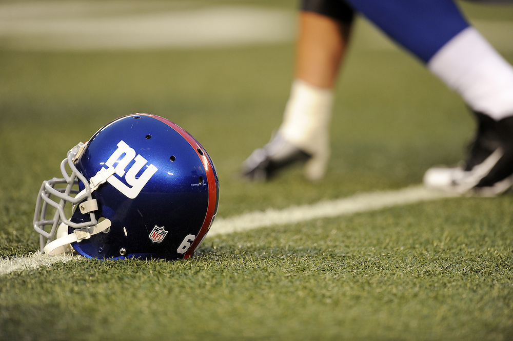 EAST RUTHERFORD, NJ - AUGUST 29: A general view a New York Giants helmet before a preseason game between the New York Jets and the New York Giants at Giants Stadium on August 29, 2009 in East Rutherford, New Jersey. The New York Jets beat the New York Giants 27-25. (Photo by Rob Tringali) *** Local Caption ***