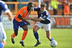 Simeon Akinola gets an elbow in the face from Barows Patrick Lacey and goes down injured, Braintree Town, Braintree Town v Barrow AFC, Avanti Stadium Braintree, Vanarama National League, Saturday, 12th September 2015. Braintree Town v Barrow AFC, Avanti Stadium Braintree, Vanarama National League, Saturday, 12th September 2015.