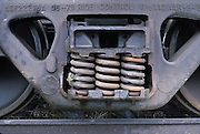 close up of springs under train wagon