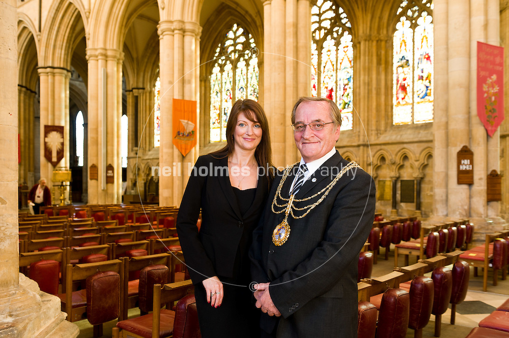 Coun Peter Astell, mayor of Beverley and Town Clark Helen Watson of Beverley Town Council