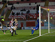 27th January 2018, SuperSeal Stadium, Hamilton, Scotland; Scottish Premiership football, Hamilton Academical versus Dundee; Dundee's Matty Hanvey scores for 1-1