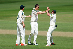 Nottinghamshire's Matt Carter celebrates the wicket of Somerset's Tom Cooper - Photo mandatory by-line: Harry Trump/JMP - Mobile: 07966 386802 - 15/06/15 - SPORT - CRICKET - LVCC County Championship - Division One - Day Two - Somerset v Nottinghamshire - The County Ground, Taunton, England.