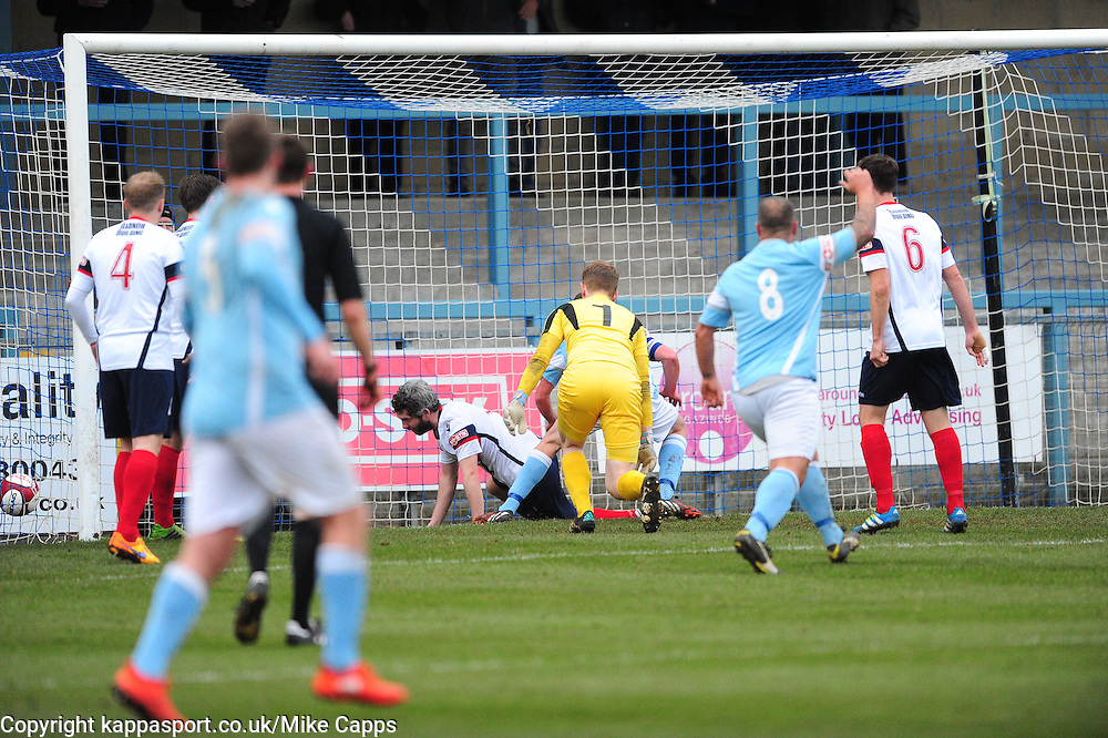 RUGBY SKIPPER  JOE HALSALL CHIPS IN RUGBYS FIRST GOAL AND CELEBRATES, Rugby Town v Newcastle Town, Evo Stick NPL Division One South, Saturday 19th November 2016<br /> Score 2-0, (Halsall,Faulkner)