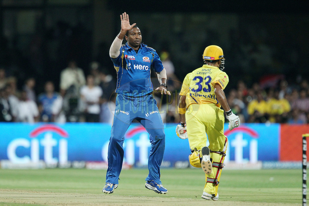 Kieron Pollard  reacts after bowling during The IPL 2012, Season 5, eliminator match between The Mumbai Indians and The Chennai Superkings held at the M. Chinnaswamy Stadium, Bengaluru on the 23rd May 2012..Photo by Ron Gaunt/IPL/SPORTZPICS