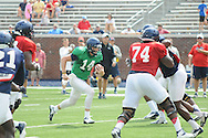 Ole Miss quarterback Bo Wallace runs upfield during football practice at Vaught-Hemingway Stadium in Oxford, Miss. on Saturday, August 9, 2014.