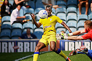 Leeds no 24 Hadi Sacko misses at the far post in the  Friendly match between Peterborough United and Leeds United at London Road, Peterborough, England on 23 July 2016. Photo by Nigel Cole.