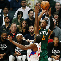 25 April 2017: Utah Jazz forward Joe Johnson (6) takes a jump shot over LA Clippers forward Luc Mbah a Moute (12) during the Utah Jazz 96-92 victory over the Los Angeles Clippers, during game 5 of the first round of the Western Conference playoffs, at the Staples Center, Los Angeles, California, USA.
