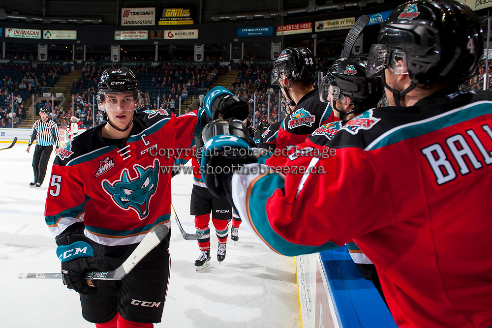 KELOWNA, CANADA - OCTOBER 28: Cal Foote #25 of the Kelowna Rockets celebrates a second period goal against the Prince George Cougars on October 28, 2017 at Prospera Place in Kelowna, British Columbia, Canada.  (Photo by Marissa Baecker/Shoot the Breeze)  *** Local Caption ***