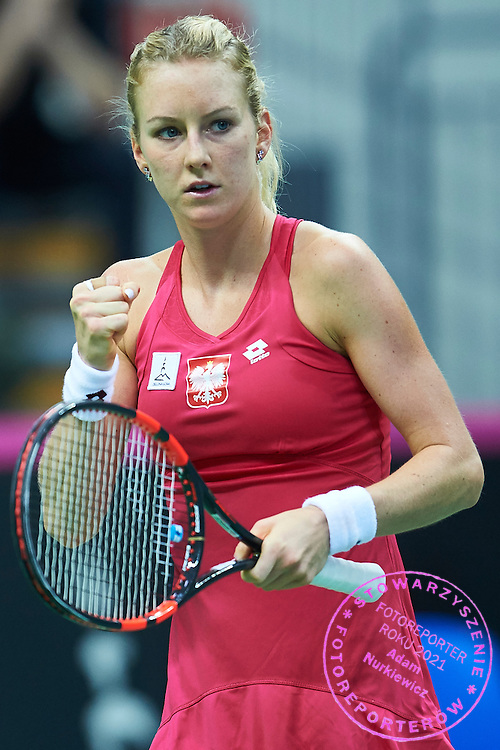 Urszula Radwanska of Poland celebrates after scoring  during the Fed Cup / World Group Play Off tennis match between Poland and Switzerland on April 19, 2015 in Zielona Gora, Poland<br /> Poland, Zielona Gora, April 19, 2015<br /> <br /> Picture also available in RAW (NEF) or TIFF format on special request.<br /> <br /> For editorial use only. Any commercial or promotional use requires permission.<br /> <br /> Adam Nurkiewicz declares that he has no rights to the image of people at the photographs of his authorship.<br /> <br /> Mandatory credit:<br /> Photo by &copy; Adam Nurkiewicz / Mediasport