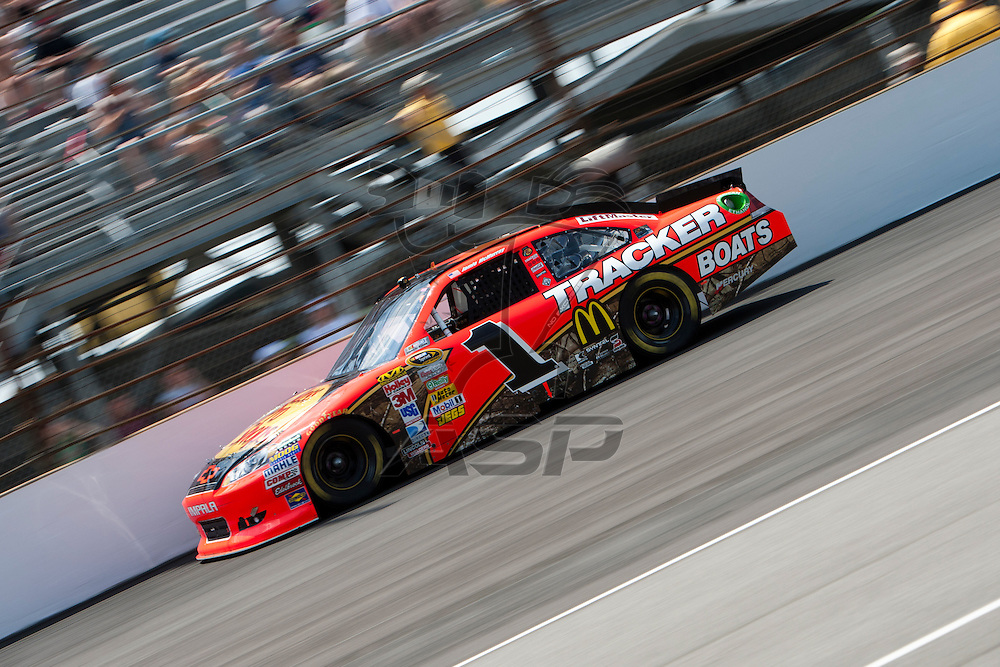 Speedway, IN  - JUL 31, 2011: Jamie McMurray (1) races to turn one for the Brickyard 400 presented by BigMachineRecords.com at Indianapolis Motor Speedway in Speedway, IN.