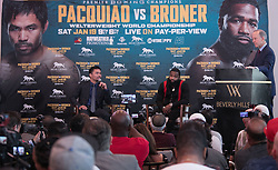 November 20, 2018 - Beverly Hills, California, U.S - (L) Manny Pacquiao and Adrien Broner during a news conference, Tuesday, November 20, 2018, in Beverly Hills, California. Pacquiao will defend his World Boxing Association welterweight title against Broner on January 19, 2019, in Las Vegas. (Credit Image: © Prensa Internacional via ZUMA Wire)
