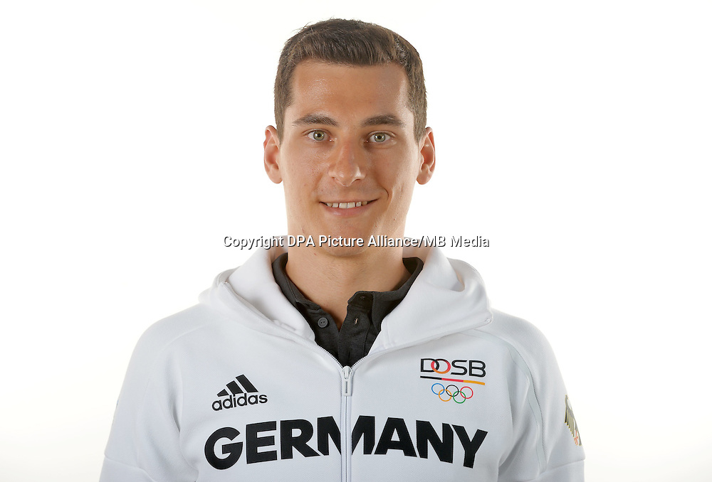 Stephan Feck poses at a photocall during the preparations for the Olympic Games in Rio at the Emmich Cambrai Barracks in Hanover, Germany. July 07, 2016. Photo credit: Frank May/ picture alliance. | usage worldwide