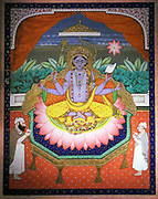Vishnu on a lotus petal throne. Early 1900's, India. Gold leaf and gouache on paper. Vishnu is the Supreme God in the Vaishnavite tradition of Hinduism