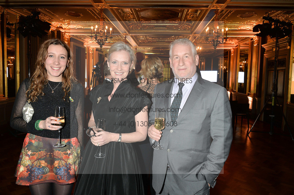Left to right, MISS HARRIET ELTON, SARAH ELTON and SIMON KELNER at a reception to celebrate the Debrett's 500 2015 - a recognition of Britain's 500 most influential people, held at The Club at The Cafe Royal, 68 Regent Street, London on 26th January 2015.