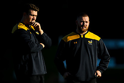 Tom West and Ben Harris of Wasps during training ahead of the European Challenge Cup fixture against SU Agen - Mandatory by-line: Robbie Stephenson/JMP - 18/11/2019 - RUGBY - Broadstreet Rugby Football Club - Coventry , Warwickshire - Wasps Training Session