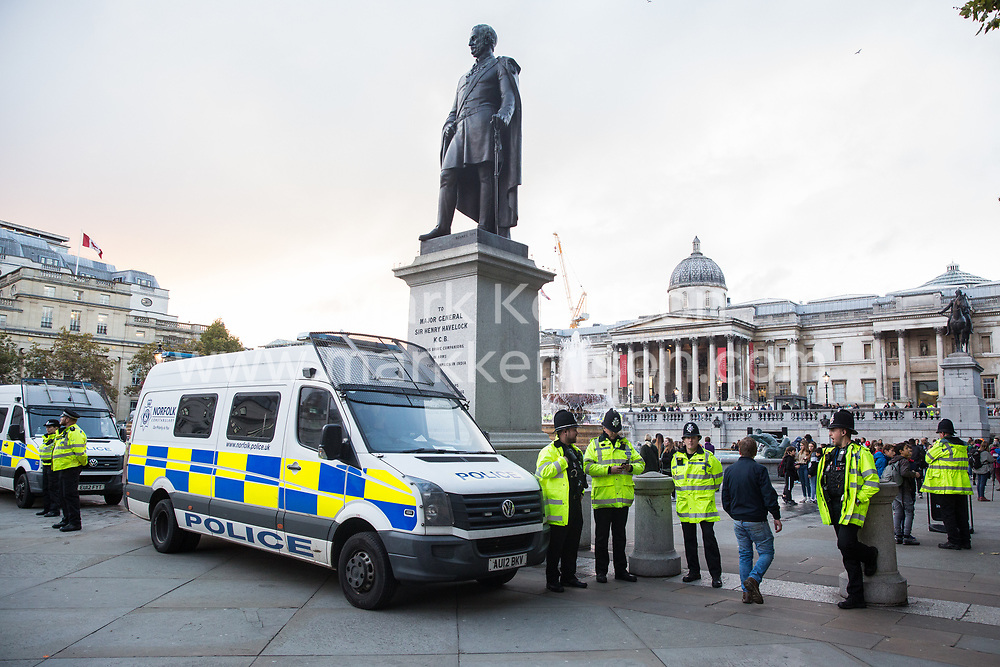 London, UK. 17 October, 2019. A large policing operation is in place in and around Trafalgar Square to prevent protests by climate activists from Extinction Rebellion following the Metropolitan Police ban on Autumn Uprising protests under Section 14 of the Public Order Act 1986.