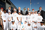 MELBOURNE, AUSTRALIA - JULY 30:  Adam Gilchrist, Prime Minister Kevin Rudd, Chairman ICC CWC 2015 Ralph Waters and Victorian Premier Dennis Napthine pose with Caroline Springs Primary school children during the Official Launch of the ICC Cricket World Cup 2015 on July 30, 2013 in Melbourne, Australia.  Photo: Robert Prezioso/ ICC