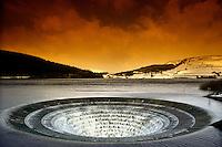 Overflow Labybower reservoir in the Derbyshire Peak District....