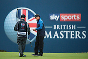 Eddie Pepperell of England smiles with his caddy after winning the British Masters 2018 at Walton Heath Golf Course, Walton On the Hill, Surrey on 14 October 2018. Picture by Martin Cole.