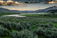 Lamar River Valley at sunset; Yellowstone National Park, Wyoming