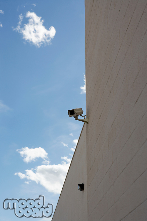 Security cameras on building wall