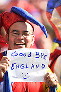 A fan of Costa Rica with a message for England fans during the 2014 FIFA World Cup match at Itaipava Arena Pernambuco, Recife metropolitan area<br /> Picture by Stefano Gnech/Focus Images Ltd +39 333 1641678<br /> 20/06/2014