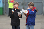 young Lincoln City fans during the EFL Sky Bet League 2 match between Lincoln City and Crawley Town at Sincil Bank, Lincoln, United Kingdom on 28 October 2017. Photo by Mick Haynes.