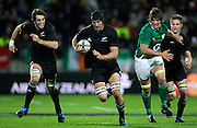 L-R Sam Whitelock and Anthony Boric on the charge during the New Zealand All Blacks v Ireland rugby International Test at Yarrow Stadium in New Plymouth, New Zealand. Saturday 12 June 2010.