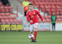 WREXHAM, WALES - Thursday, November 10, 2016: Wales' Kieran Evans  in action against Greece during the UEFA European Under-19 Championship Qualifying Round Group 6 match at the Racecourse Ground. (Pic by Gavin Trafford/Propaganda)