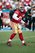 San Francisco 49ers defensive tackle Sheldon Day (96) dances and celebrates after sacking the quarterback for a loss of 10 yards and forcing a third quarter punt during the NFL week 4 regular season football game against the Los Angeles Chargers on Sunday, Sept. 30, 2018 in Carson, Calif. The Chargers won the game 29-27. (©Paul Anthony Spinelli)