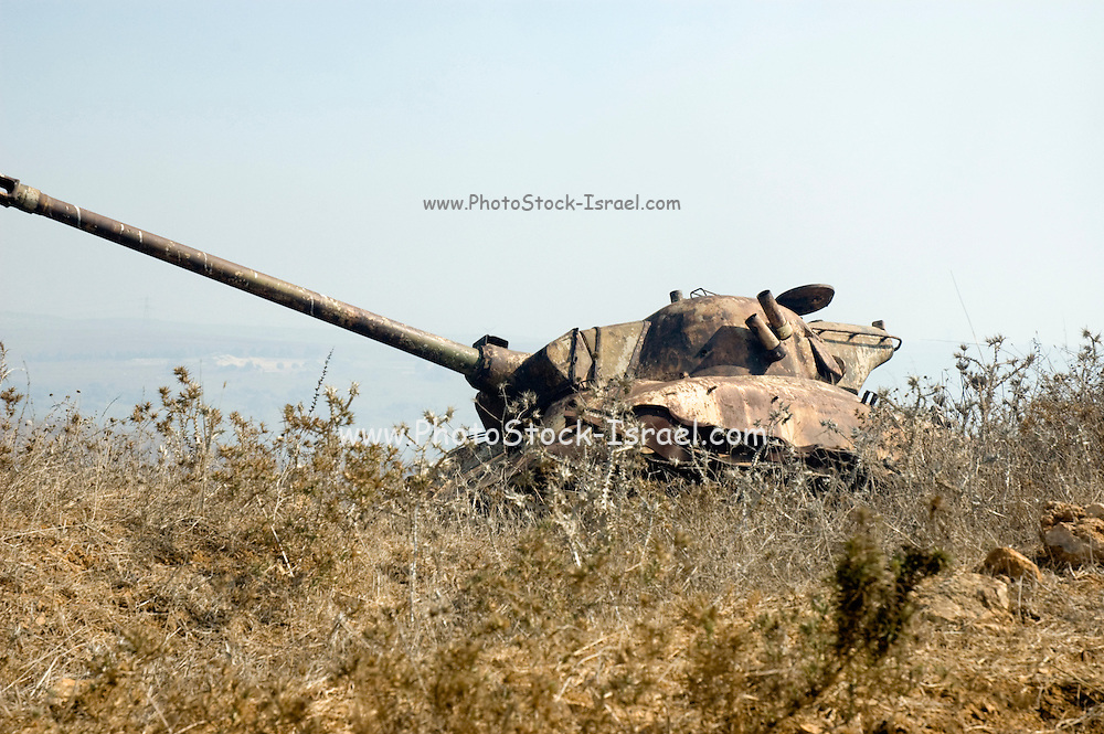 Israel, Golan Heights, Military firing zone. An old tank left for target practice