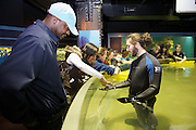 Patrons enjoy a chance to touch the aquadic life at the Cleveland Aquarium on Monday, Feb. 6, 2012