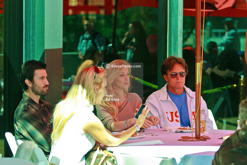 LONG BEACH, CA - APR 14: Reality TV personality Bruce Jenner has lunch with son Brandon, his ex-wife Linda Thompson and his son's girlfriend Leah Felter  at the 2012 Toyota Celebrity/PRO Race in Long Beach, CA. All fees must be ageed prior to publication,.Byline and/or web usage link must  read PHOTO: Eduardo E. Silva/SILVEX.PHOTOSHELTER.COM