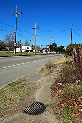 28 January 2015. New Orleans, Louisiana.<br /> Whitney Avenue, New Orleans. Gayle Benson grew up on this street which has fallen into disrepair since Gayle's early childhood. Gayle Benson is the 3rd and current wife of Louisiana billionaire Tom Benson, owner of the NFL football team The New Orleans Saints and NBA basketball team The New Orleans Pelicans. <br /> Photo; Charlie Varley/varleypix.com