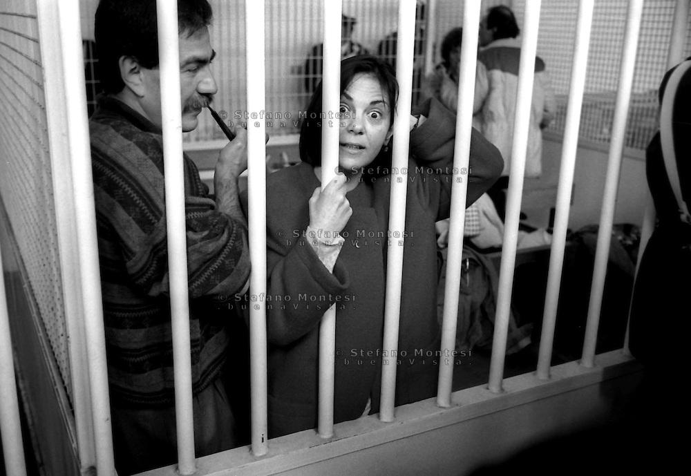 Roma 1992<br /> Aula bunker del Foro Italico<br /> Processo Moro-ter alle Brigate Rosse.Pietro Bertolazzi, Barbara Balzerani