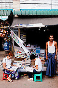 Magazine and book stall. Yangon, Myanmar.