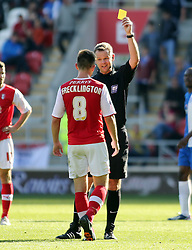 Rotherham United's Lee Frecklington is shown a yellow card - Photo mandatory by-line: Joe Dent/JMP - Tel: Mobile: 07966 386802 28/09/2013 - SPORT - FOOTBALL - New York Stadium - Rotherham - Rotherham United V Peterborough United - Sky Bet One