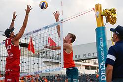 20180716 NED: CEV DELA Beach Volleyball European Championship day 2<br />Clemens Doppler (1) of Austria, Jannes van der Ham <br />©2018-FotoHoogendoorn.nl