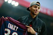 Golden State Warrior NBA player Stephen Curry attends the French championship L1 football match between Paris Saint-Germain (PSG) and Saint-Etienne (ASSE), on August 25, 2017 at the Parc des Princes in Paris, France - Photo Benjamin Cremel / ProSportsImages / DPPI