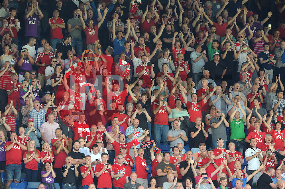 Travelling Bristol City fans at Hillsborough Stadium - Mandatory byline: Dougie Allward/JMP - 07966386802 - 08/08/2015 - FOOTBALL - Hillsborough Stadium -Sheffield,England - Sheffield Wednesday v Bristol City - Sky Bet Championship