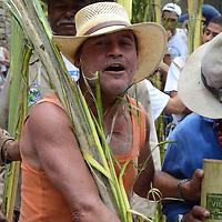 """Los Palmeros de Chacao trataron una vez mas de cumplir una vez más con su tradición bicentenaria de traer las palmas a ser bendecidas durante la celebración de la Semana Mayor en Caracas...Aunque este año por primera vez en los 241 años que tiene la tradición de los Palmeros de Chacao, no hubo actos, ni cantos de """"Cógela, cógela, cógela que ahí va..."""", en la bajada por el sector de Sabas Nieves, sino una protesta pacifica porque en esta ocasión no solo fueron las limitaciones que les impuso el Instituto Nacional de Parques (Inparques) sino que a los 20 palmeros que subieron a El Ávila los desalojaron de la montaña en horas de la noche del viernes un piquete de la Guardia Nacional. Caracas, 16 de Abril del 2011. Jimmy Villalta"""