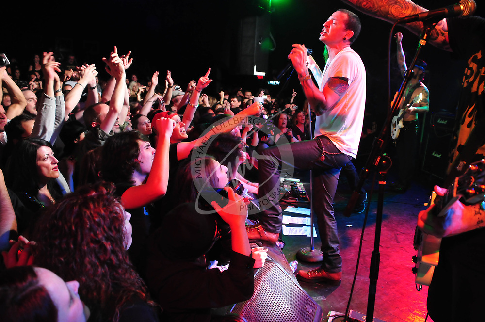 Chester Bennington of Linkin Park performs live with camp Freddy at the Roxy Theater in West Hollyood.