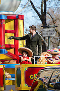 NEW YORK, NY, USA, Nov. 28, 2013. Brett Eldredge waves from a float in the 87th Annual Macy's Thanksgiving Day Parade.