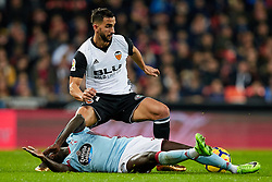 December 9, 2017 - Valencia, Valencia, Spain - Montoya (top) of Valencia CF competes for the ball with Pione Sisto of Real Club Celta de Vigo during the La Liga game between Valencia CF and Real Club Celta de Vigo at Mestalla on December 9, 2017 in Valencia, Spain  (Credit Image: © David Aliaga/NurPhoto via ZUMA Press)