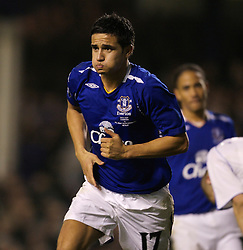 Liverpool, England - Wednesday, December 5, 2007: Everton's Tim Cahill celebrates scoring the only goal of the game against Zenit St. Petersburg during the UEFA Cup Group A match at Goodison Park. (Photo by David Rawcliffe/Propaganda)