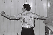 Mark Charnock in newspaper print shirt, London, UK, 1984