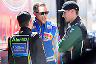 TUCSON, ARIZONA - MAY 07:  NASCAR K&N Pro Series West drivers Ryan Partridge (C), Noah Gragson (L) and Gracin Raz talk during practice prior to the NASCAR K&N Pro Series West NAPA Auto Parts Wildcat 150 at Tucson Speedway on May 7, 2016 in Tucson, Arizona.  (Photo by Jennifer Stewart/NASCAR via Getty Images)
