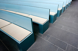 Detail of modern seating inside chapel at modern crematorium at Baumschulenweg cemetery in Treptow  Berlin Germany; Architect Axel Schultes